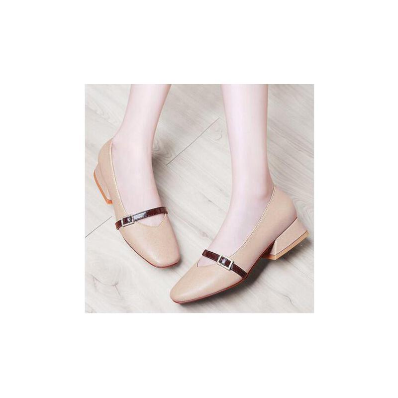 古奇天伦春季女鞋中跟粗跟一字扣奶奶鞋丑萌鞋女新款韩版百搭RTY8733 品质保证 售后无忧
