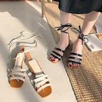 中跟绑带女士凉鞋户外百搭女鞋仙女风方头粗跟罗马鞋