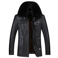 冬季新款毛领皮衣男士中老年翻领加绒加厚外套中年爸爸装PU皮夹克