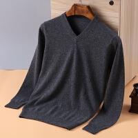 秋冬季新款男士V领羊绒衫男装中老年羊绒衫V领套头毛衣针织衫
