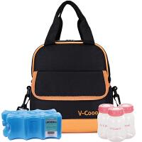 V-Coool 便携双层母乳保鲜包背奶包冰包保温包套装 橙黑色(含干式蓝冰2块+标口PP储奶瓶3只)