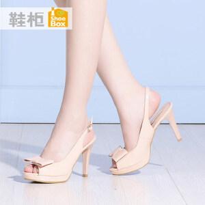 达芙妮集团 鞋柜2016夏季韩版蝴蝶结简约凉鞋性感鱼嘴女鞋1116303279