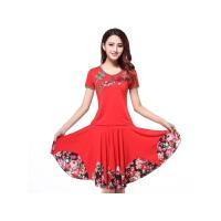 新款广场舞服装套装刺绣花短袖上衣跳舞蹈裙子表演出服装 红色 短袖