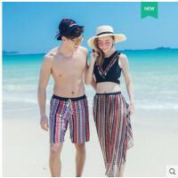 比基尼三件套韩版温泉情侣泳装男沙滩裤小胸聚拢性感游泳衣女新款