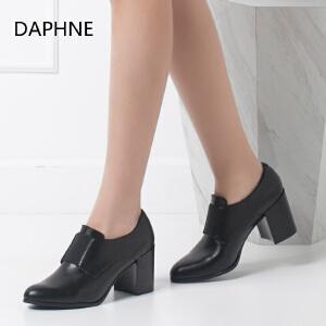 Daphne/达芙妮正品女鞋 秋季粗高单鞋尖头松紧带深口妈妈鞋