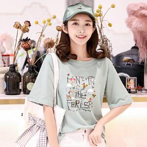 【每满100减50元】【多色可选】纯棉T恤衬衫上衣女2018夏季新款韩版百搭时尚卡通T恤衫短袖上衣打底衫