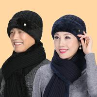 中老年人女士秋冬天毛线帽加厚老人帽子围脖女奶奶中年妈妈帽棉帽