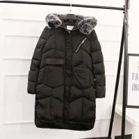 200斤大码女装冬装新款女胖MM韩版宽松显瘦中长款棉衣YK89 黑色