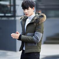 冬季短款羽绒服男士潮流外套连帽大毛领加厚2017冬装新款青年男装 绿色 M