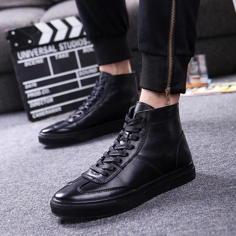 保暖男鞋秋冬季潮鞋韩版皮鞋男士马丁靴中高帮加绒棉鞋英伦男靴子