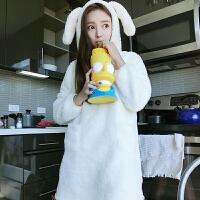 秋冬新款女装韩版甜美可爱兔子连帽长袖睡裙时尚少女睡衣连衣裙潮