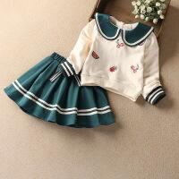 女童毛衣两件套宝宝套装小女孩公主连衣裙