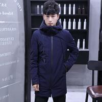 冬装男装棉衣男连帽中长款加厚青年冬季修身衣服上衣冬天棉袄
