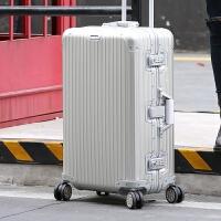 七夕礼物全铝镁合金行李箱拉杆箱商务金属旅行箱万向轮拉杆箱24/29寸 升级版全铝银色 29寸【防刮金属全铝镁合金】