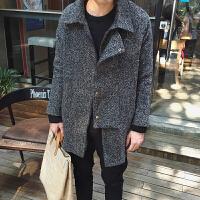 韩观毛呢大衣男韩版中长款雪花呢料风衣秋冬季潮青年修身男士外套 灰色
