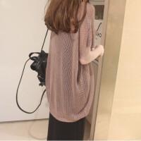罩衫女夏针织外套镂空上衣宽松纯色大码空调衫网衫前短后长T恤潮