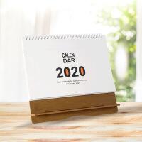 2020台历定制做木质卡通台历架创意办公日历桌面摆件烫金厂家