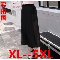 5XL大码女裤加肥阔腿裤裙200斤胖mm夏宽松显瘦薄款雪纺九分休闲裤