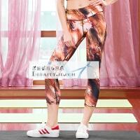 紧身瑜伽裤 女 休闲运动裤跑步裤七分裤 紧身裤 健身服透气 印花 花色