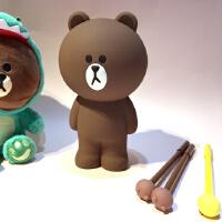 新款韩国line布朗熊硅胶笔袋立体创意文具盒可爱铅笔盒小熊公仔铅笔袋收纳袋
