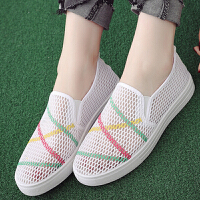 夏季新款网鞋女布鞋透气网眼学生鞋一脚蹬小白鞋女休闲板鞋