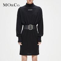 MOCO冬季新品纯色街头字母针织连衣裙MA184DRS301 摩安珂