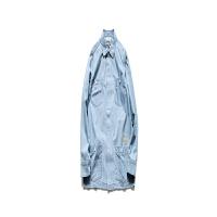 男装春季新款日系工装衬衫多口袋宽松牛仔衬衣 浅蓝色