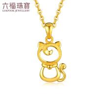六福珠宝黄金吊坠女优雅猫公主足金项链吊坠不含链 GDGTBP0014