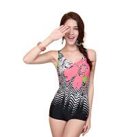 YINGFA英发 女士个性印花连体平角泳衣Y1638 舒适胸垫泳衣