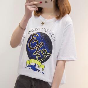 【今日下单立减100元】短袖t恤女2018夏季新款宽松显瘦学生外穿体恤韩版印花上衣