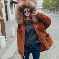棉衣女中长款2017冬季新款韩版收腰大毛领保暖休闲加厚棉