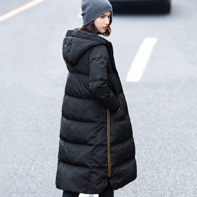 Amii[极简主义]2017年冬装新款90绒修身长过膝加厚羽绒服女装宽松_黑色,165/88A/L