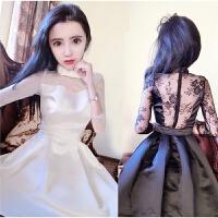 春秋裙女新款 韩版 百搭性感大露背蕾丝收腰显瘦七分袖连衣裙