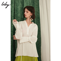 Lily2019秋新款条纹肌理感人丝宽松白色套头雪纺衫女119330C4282