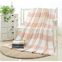 竹纤维毯棉毛巾被棉纱布夏凉盖毯被夏季单双人 藕色 格子2-粉