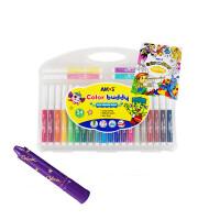 水彩笔水洗宝宝画笔12/24色彩色笔安全可墙面画画
