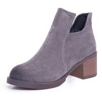 2017新款短靴女秋粗跟纯色磨砂侧拉链高跟裸靴马丁靴