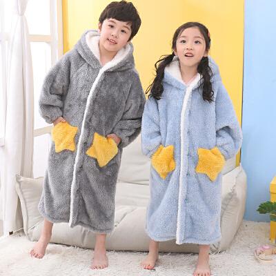 儿童星星睡袍秋冬季男童女童法兰绒浴袍珊瑚绒睡衣可外穿厚家居服