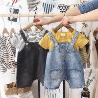 男女宝宝牛仔背带短裤套装小童夏装婴儿儿童吊带裤