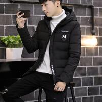 男士棉衣冬季新款韩版修身加厚青少年帅气外套学生棉袄潮 黑色 M