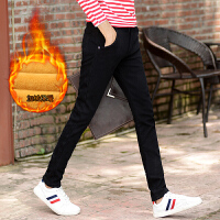 冬季裤子男秋季男士休闲裤男修身加绒直筒长裤韩版潮流时尚黑色裤