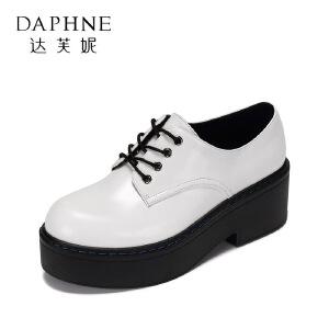 Daphne/达芙妮 春休闲舒适厚底方跟单鞋 百搭圆头系带松糕女鞋