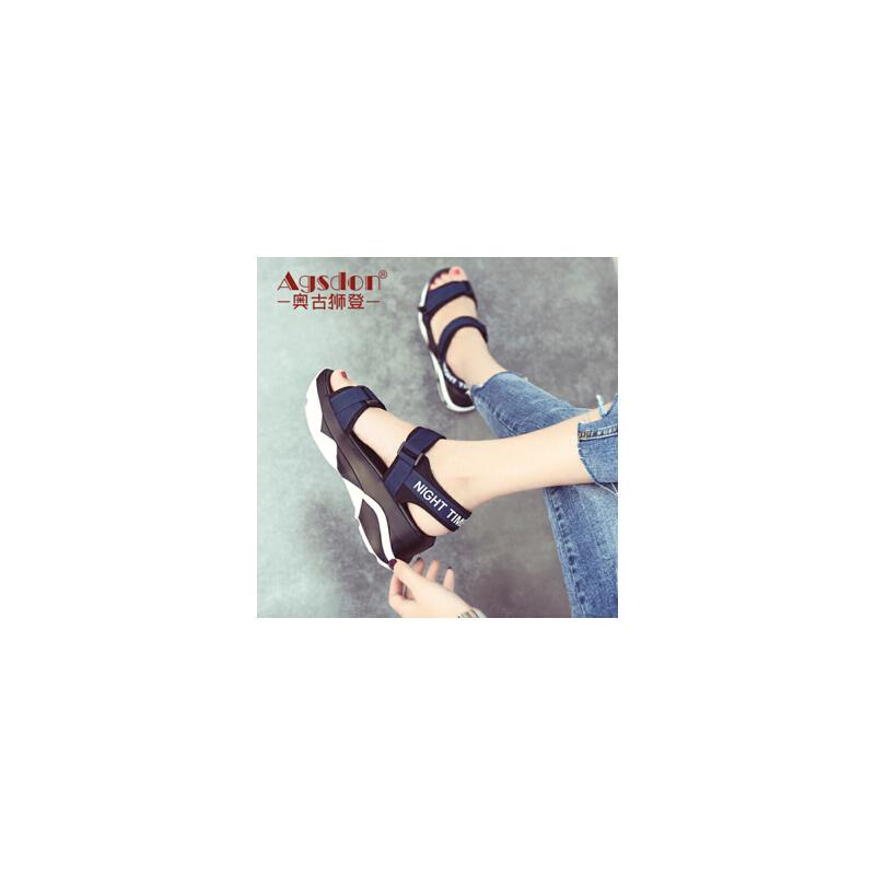 奥古狮登【景甜同款】2018新款凉鞋女夏平底学生中跟女鞋简约一字扣韩版百搭舒适夏季鞋