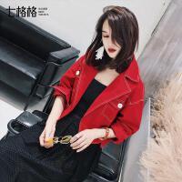 七格格红色短外套女秋装短款韩版学生宽松bf潮百搭休闲2017新款夹克衫