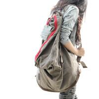 潮人汇新款女包韩版双肩包复古旅行帆布背包 中学生书包双肩包包f 咖啡色(现货)