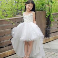 儿童礼服 女童公主拖尾裙 蓬蓬演出裙夏 白色拖尾裙