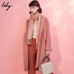 Lily春秋新款女装纯色直筒毛呢大衣中长款毛呢大衣117410F1556