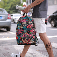 潮流复古树叶背包男女双肩包中大学生书包时尚帆布电脑包旅游背包