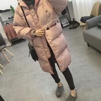 韩观冬季新款韩国bf原宿风宽松加厚保暖羽绒外套女中长款面包棉衣 粉红色 M