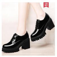 雅诗莱雅春季新款韩版百搭女鞋子黑色防水台高跟鞋粗跟单鞋英伦小皮鞋YS-3198-C